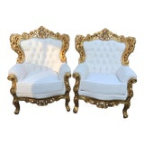 Image of 1940's Vintage Italian Rococo Chairs- A Pair For Sale