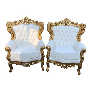 1940's Vintage Italian Rococo Chairs- A Pair For Sale