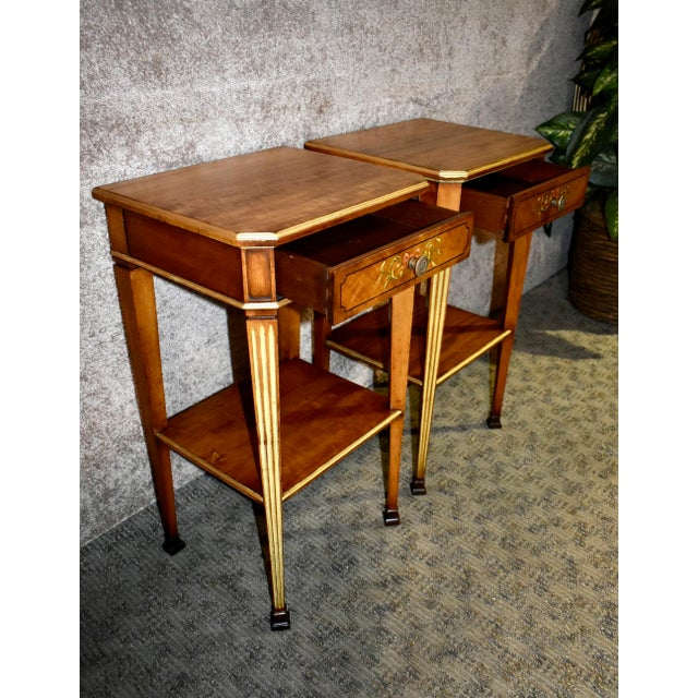 Antique French Satinwood Side Tables with Painted Designs - a Pair For Sale - Image 10 of 13