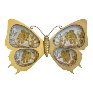 Mid-Century 1950s Brass Butterfly & Owl Candy Dish For Sale