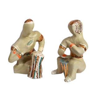 Mid-Century Art Pottery Musicians - A Pair For Sale