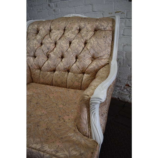 1950s Vintage French Blush Pink Brocade and White Armchair For Sale In Providence - Image 6 of 10