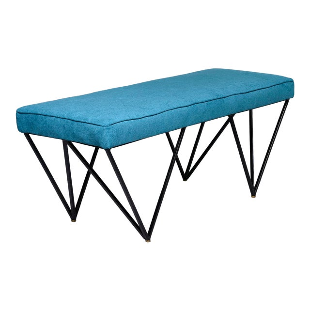 Italian Mid-Century Style Bench With Teal Fabric and Black Metal Legs For Sale