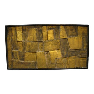 1950s Vintage Gilded Wood & Plaster Brutalist Relief For Sale