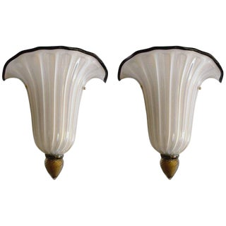 Pair of Vintage Venetian Shell Sconces For Sale