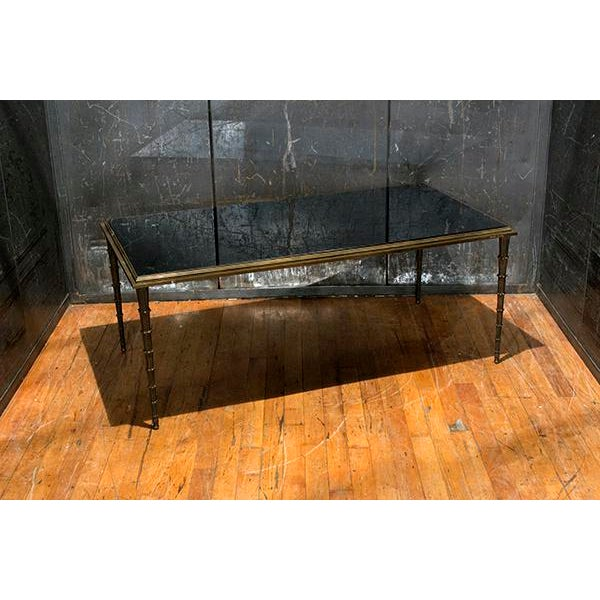 1930s French Silver Leaf Table With Black Marble Top