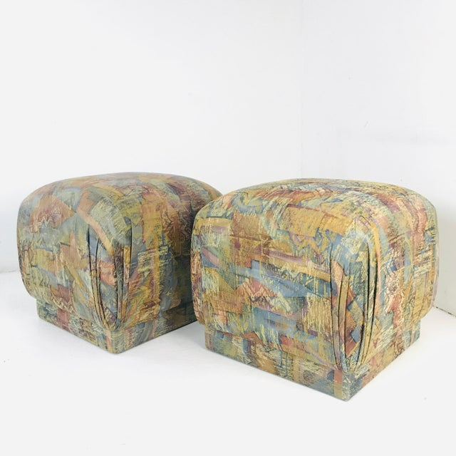 Blue Pair of Pouf Ottomans With Plinth Base For Sale - Image 8 of 12
