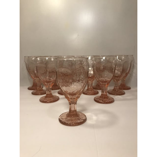 Rare Libbey Rock Sharpe Chivalry Pink water goblets or wine glasses. Set of 12. Impossible find!