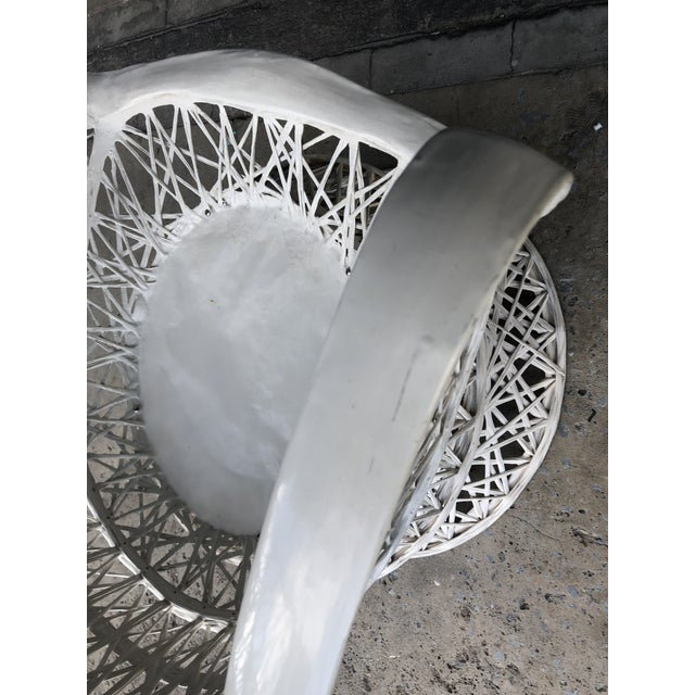 White Vintage Spun Fiberglass Patio Lounge Chair For Sale - Image 8 of 12