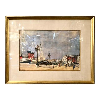 Mid-Century Modern Watercolor by Arbit Blatas Gouache on Paper Signed Dated 1961 For Sale