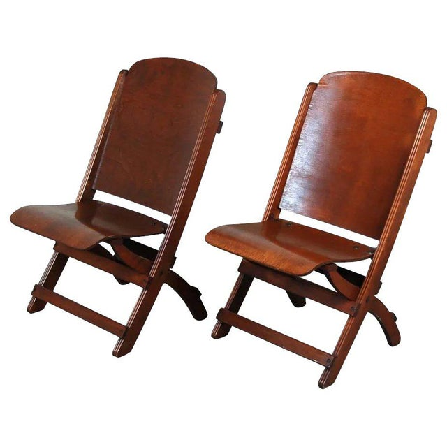 Wood Vintage Wooden Folding Chairs - A Pair For Sale - Image 7 of 7 - Vintage Wooden Folding Chairs - A Pair Chairish
