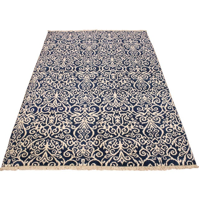 Cryena Modern Yajaira Blue/Ivory Wool & Viscouse Rug - 5'0 X 7'0 For Sale In New York - Image 6 of 8