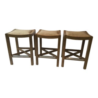 Wood Counter Stools by Lee Industries - Set of 3 For Sale
