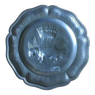 Vintage French Pewter Porcupine Plate For Sale