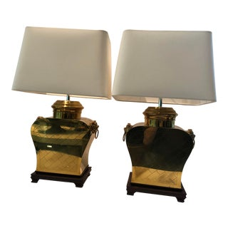 Vintage 1980s Etched Brass Lamps With Shades - a Pair For Sale
