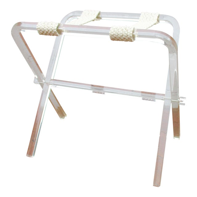 Mid-Century Modern Lucite Folding Luggage Rack For Sale