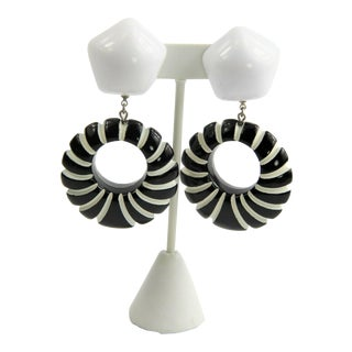 Fab Retro Mod Black & White Statement Earrings For Sale