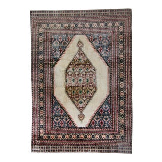 """1960s Vintage Floral Medallion Brown Pink With Mercerized Accent Cotton Floss Silk Hand-Knotted Rug - 7' X 9'10"""" For Sale"""