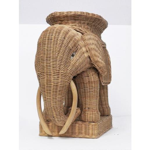 Animalia vintage 1960-1970's Italian boho woven wicker elephant occasional table or side table. Rigid wood frame...