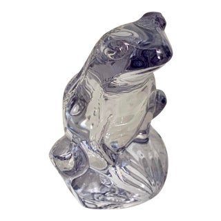 Lalique France Rainette Crystal Frog in Rare Luster Blue Color - New in Box For Sale