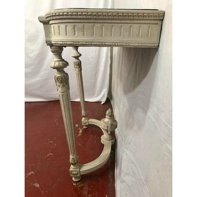 Antique White Louis XVI Style Painted Consoles a Pair For Sale - Image 8 of 13