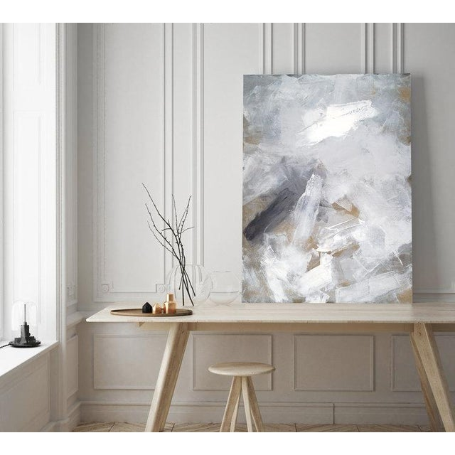 Gallery-wrapped canvas sides painted silver. Ready to hang. Artist like this vertical or horizontal. Framing optional....
