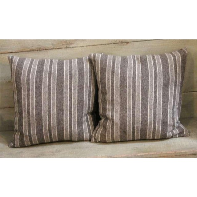 Late 19th Century Brown and Tan Wool Striped Pillows For Sale - Image 4 of 4