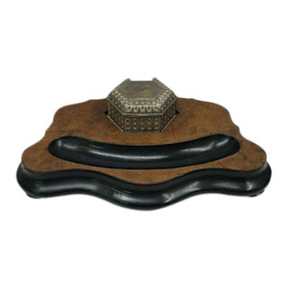 Vanity or Desk Tray and Trinket Box Birdseye Burl Wood Antique For Sale