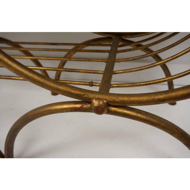 Tan Hollywood Regency Gold Gilt Metal Bench With Tiger Cushion, Italian 1960s For Sale - Image 8 of 11
