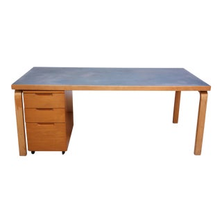 Alvar Aalto Birch Dining or Writing Table with Blue Top and Cabinet