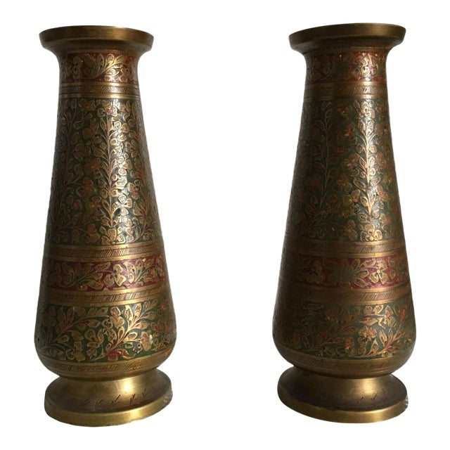 Vintage Enameled Indian Brass Vases A Pair Chairish