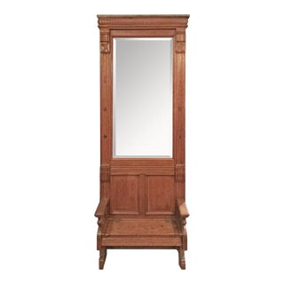 Late 19th Century Oak Eastlake Style Hall Mirror With Beveled Glass For Sale