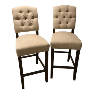 Pottery Barn Ashton Tufted Barstools - A Pair