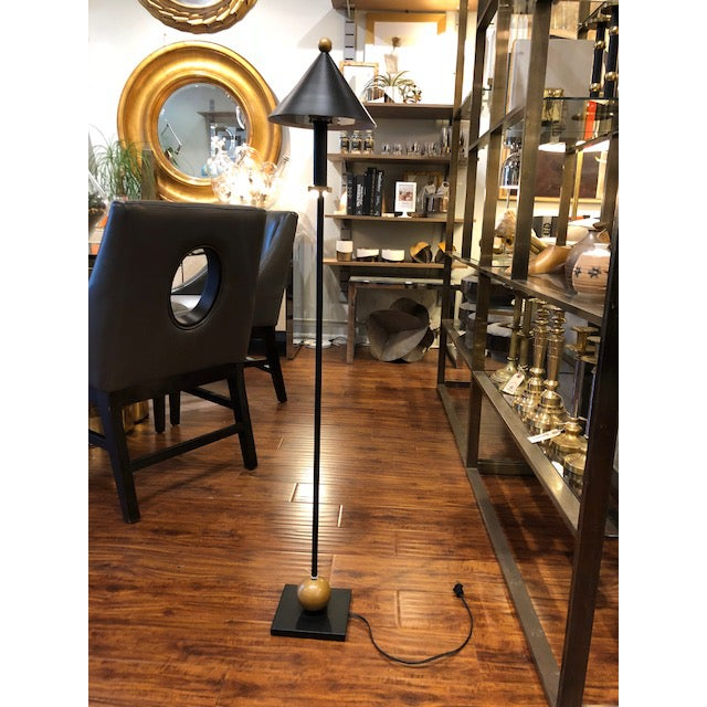 American postmodern floor lamp in black and gold by Robert Sonneman for Kovacs, marked 1987. A brilliant example of...
