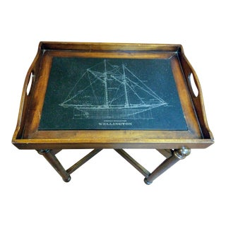 Fishing Schooner Etched Stone Tray Table