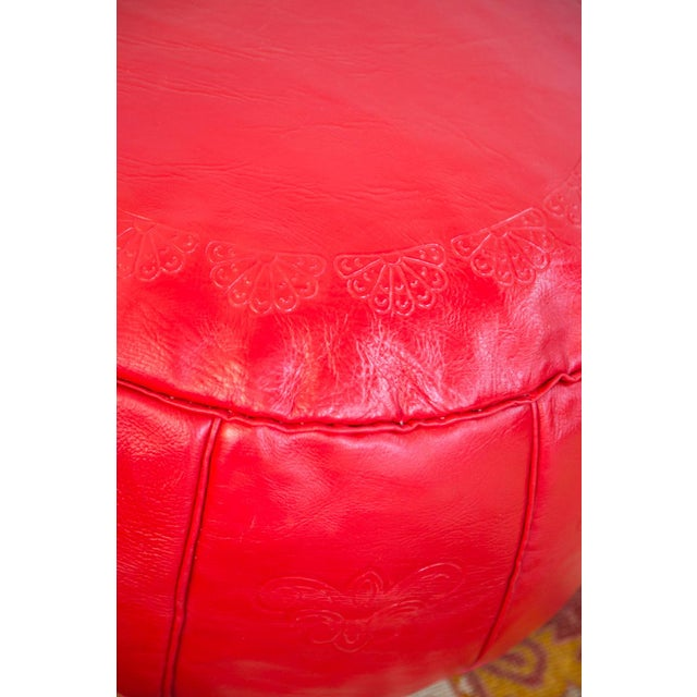 Red Antique Cherry Red Leather Moroccan Pouf Ottoman For Sale - Image 8 of 10