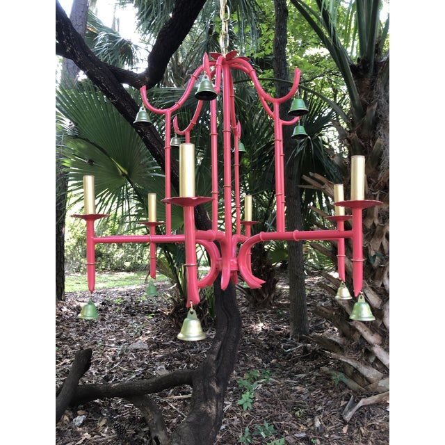 1960s Chinoiserie Coral Bamboo Pagoda Chandelier For Sale - Image 5 of 12