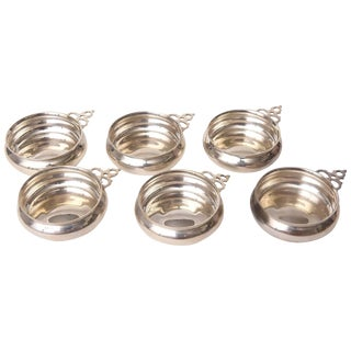 Set of Six Tiffany Sterling Wine Tasters, Vintage and Classic Shape For Sale