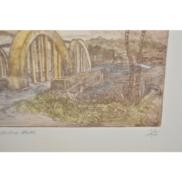 "Rainbow Bridge ""Andy's Place - Haleiwa, Hawaii"" Color Etching by Partee c.1970s For Sale In San Francisco - Image 6 of 6"