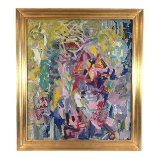 Vintage Colorful Abstract Oil Painting in Gold Frame For Sale