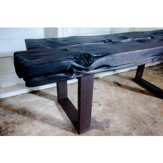 "Artisan Japanese Modern Organic Natural Edge Yakisugi Wood Entry Bed Bench Coffee Table 52"" Preview"