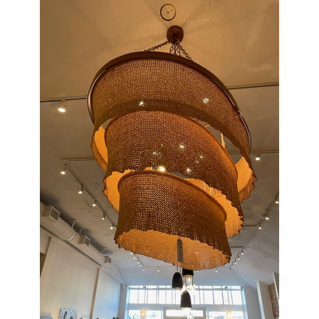 Contemporary Three Tier Woven Bead Chandelier For Sale - Image 3 of 9