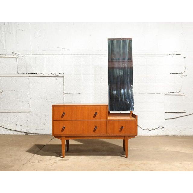 Danish Modern Small Mid Century Mirrored Dresser For Sale - Image 3 of 10