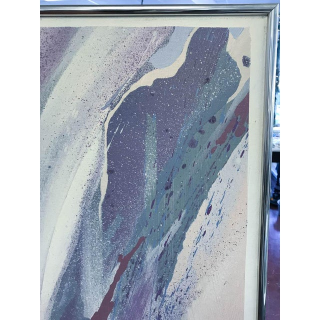 Large Mid Century Abstract - Colors in Purple and Blue - Image 4 of 8