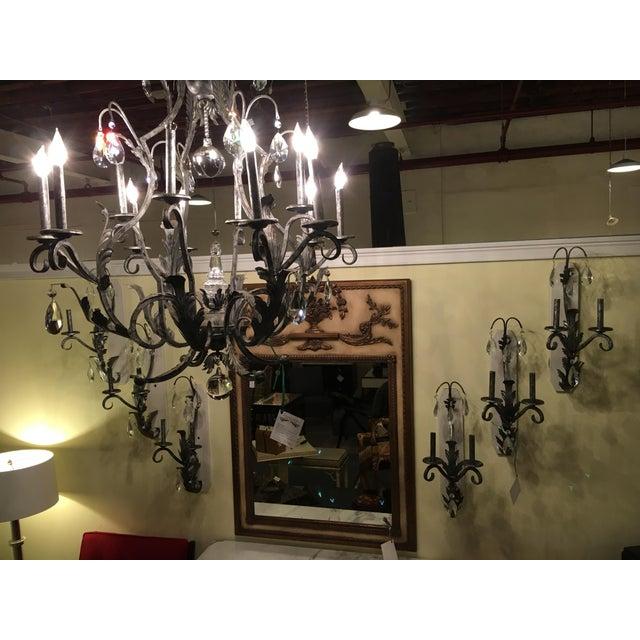 Palatial silver distressed rustic metal chandelier by Schonbek. A wonderful rustic silver metal chandelier by one of...