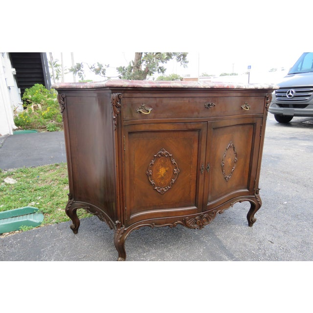 French Early 1900s Marble Top Commode Server Buffet Bathroom Vanity For Sale - Image 12 of 13