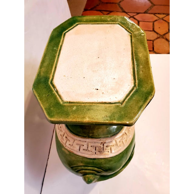 Vintage Green & White Elephant Garden Seat End Table For Sale - Image 10 of 13