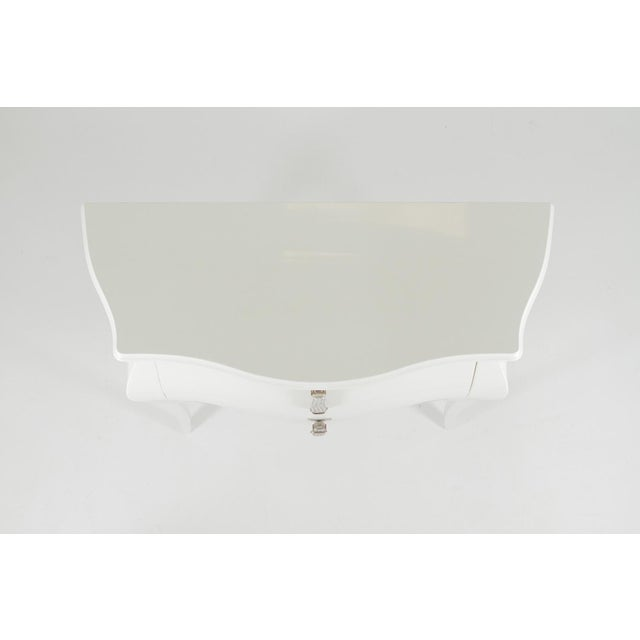 1990s Hollywood Regency Fendi Moviestar Glamorous White Lacquer Commode For Sale - Image 11 of 12