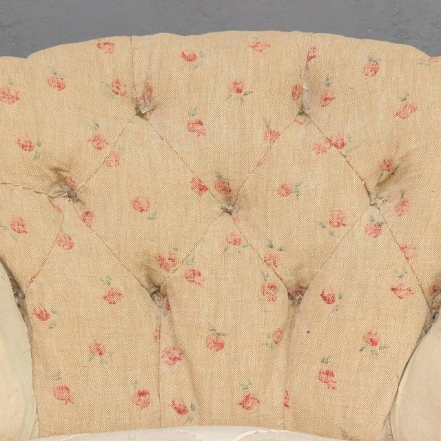 Pair of Small French Art Deco Style Tufted Armchairs For Sale - Image 9 of 10