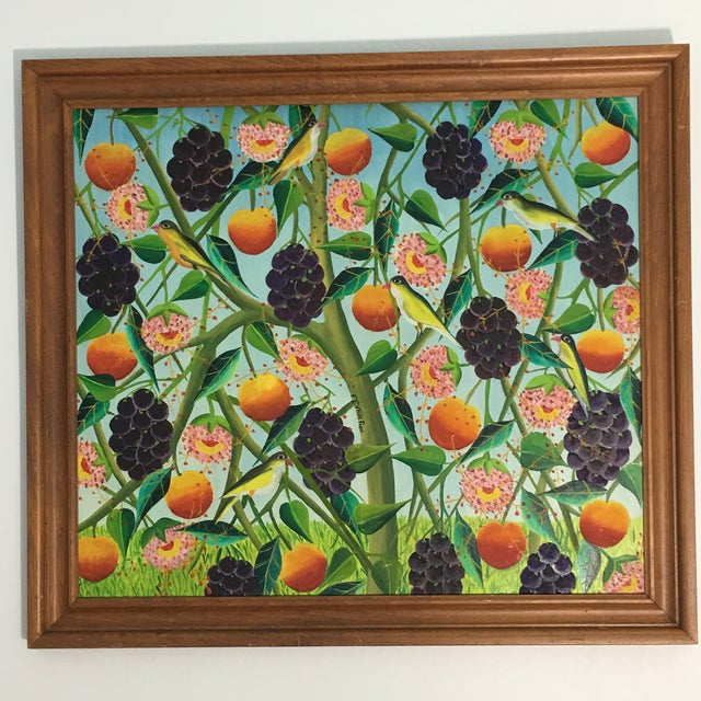 Colorful oil on board depicting several birds among fruit vines. Signed by Fred Fervin, believed to be from Haiti.